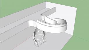 SketchUp绘制旋转楼梯模型(中文字幕)